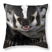 Badger-animal-image Throw Pillow