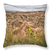 Badlands Wild Sunflowers Throw Pillow