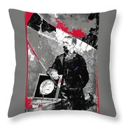 Badly Damaged Glass Plate Negative Studio Portrait Tucson Arizona C. 1885-2012 Throw Pillow