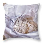 Bag Of Flour With Scoop Throw Pillow