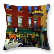 Bagels And Tea St Viateur Bakery And Davids Tea Room Montreal City Scenes Art Carole Spandau Throw Pillow