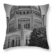 Bahai Temple Wilmette In Black And White Throw Pillow