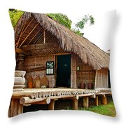 Bahnar Home With Extension As Family Grows At Museum Of Ethnology In Hanoi-vietnam  Throw Pillow