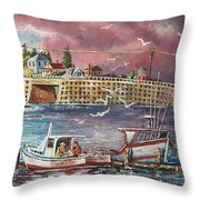 Bailey Island Cribstone Bridge Throw Pillow by Joy Nichols