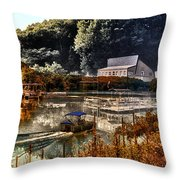 Bait Shop And Restaurant 02 Merged Image Throw Pillow