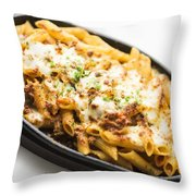 Baked Pasta With Meat And Cheese Throw Pillow