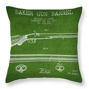 Baker Gun Barrel Patent Drawing From 1877- Green Throw Pillow