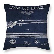 Baker Gun Barrel Patent Drawing From 1877- Navy Blue Throw Pillow