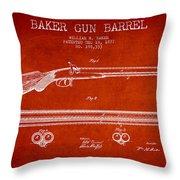 Baker Gun Barrel Patent Drawing From 1877- Red Throw Pillow