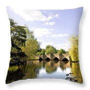 Bakewell Bridge - Over The River Wye Throw Pillow