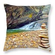 Balanced River Rocks At Birdrock Waterfalls Filtered Throw Pillow