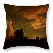 Balanced Rock And The Milky Way Throw Pillow
