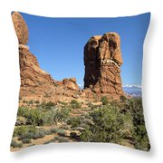 Balanced Rock Arches National Park Utah Throw Pillow