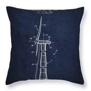 Balancing Of Wind Turbines Patent From 1992 - Navy Blue Throw Pillow