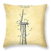 Balancing Of Wind Turbines Patent From 1992 - Vintage Throw Pillow