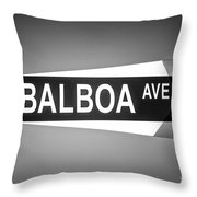 Balboa Avenue Street Sign Black And White Picture Throw Pillow
