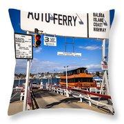 Balboa Island Auto Ferry In Newport Beach California Throw Pillow