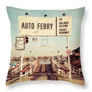 Balboa Island Ferry Newport Beach Vintage Picture Throw Pillow