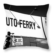 Balboa Island Ferry Sign Black And White Picture Throw Pillow by Paul Velgos