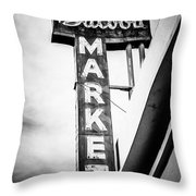 Balboa Market Sign Orange County California Photo Throw Pillow