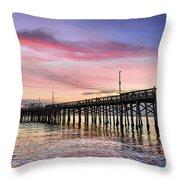 Balboa Pier Sunset Throw Pillow by Kelley King