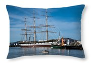 Rowing Past Balclutha And Steamship Eppleton Hall Throw Pillow