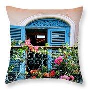 Balcony Blue By Diana Sainz Throw Pillow