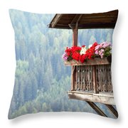 Balcony Overlooking The Forest Throw Pillow