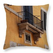 Balcony Piazza Della Madallena In Roma Throw Pillow