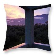 Balcony To Olympos Throw Pillow
