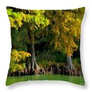 Bald Cypress Trees 1 - Digital Effect Throw Pillow