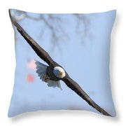 Bald Eagle And Flag Throw Pillow