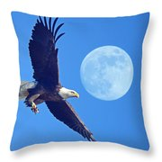 Bald Eagle And Full Moon Throw Pillow