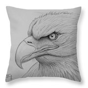 Bald Eagle Drawing Throw Pillow