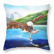 Bald Eagle Having Dinner Throw Pillow