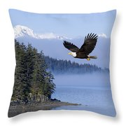Bald Eagle In Flight Over The Inside Throw Pillow