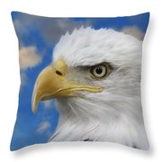 Bald Eagle In The Clouds Throw Pillow