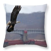 Bald Eagle Leaves With Fish At Lock And Dam 14 Throw Pillow