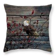 Bald Eagle On Barnwood Throw Pillow