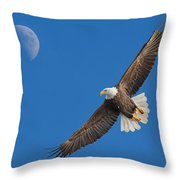 Bald Eagle Soaring With The Moon Throw Pillow