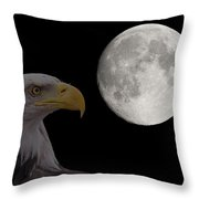 Bald Eagle With Full Moon - 2 Throw Pillow