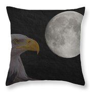 Bald Eagle With Full Moon - 3 Throw Pillow