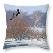Bald Eagles At Providence Dam 1107 Throw Pillow