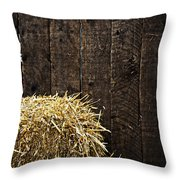 Bale Of Straw And Wooden Background Throw Pillow