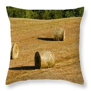 Bales In The Golden Hour Throw Pillow