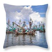 Balinese Fishing Boats Throw Pillow