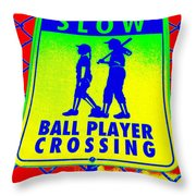Ball Player Crossing Throw Pillow