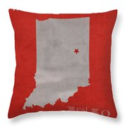 Ball State University Cardinals Muncie Indiana College Town State Map Poster Series No 017 Throw Pillow