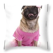 Ballerina Pug Dog Throw Pillow