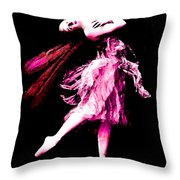 Ballerina Wings Pink Portrait Art Throw Pillow